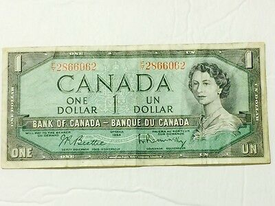 ULTRARARE $1 (ONE) DOLLAR BANK OF CANADA BANKNOTE 1954 Beattie-Coyne 1