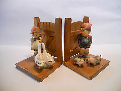 Vintage Hummel # 60/A & 60/B bookends Girl with geese, Boy with pigs