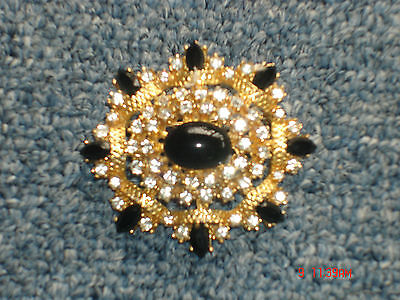 Vintage 1950's Gold-Plated Brooch with Black & Clear Crystals Excellent!