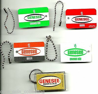 Genesee Beer Keychain Fob Key Chain, Lot of 3 different, New Old-Stock NOS