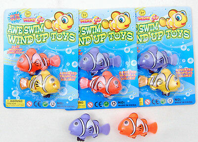 New 2 pcs wind up Clown Fish water bath toys Toddlers kids 3+