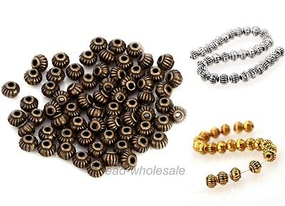 Antique Silver/Gold/Bronze Tibetan Silver Metal Beads Spacer Beads Findings 5mm