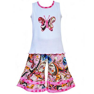 AnnLoren Toddler Girls 2/3T Boutique Butterfly Tank and Capri Spring Clothing