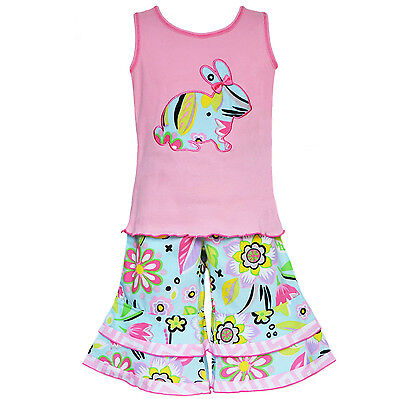AnnLoren Toddler Girls 4-5t Boutique Easter Bunny Tank and Capri Holiday Outfit