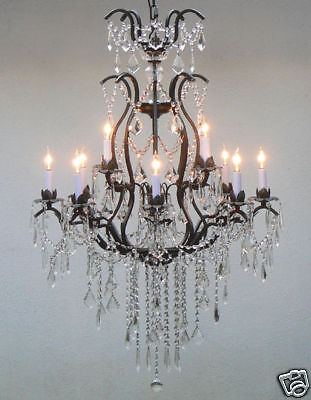 12 LIGHT 2 TIER CRYSTAL WROUGHT IRON CHANDELIER FOYER DINING ROOM FREE SHIPPING
