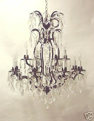 12 LIGHT 2 TIER 36 X 28 CRYSTAL WROUGHT IRON CHANDELIER DINING ROOM FREE SHIP