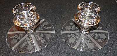 Antique Pair of Fostoria Etched Crystal Candle Holders