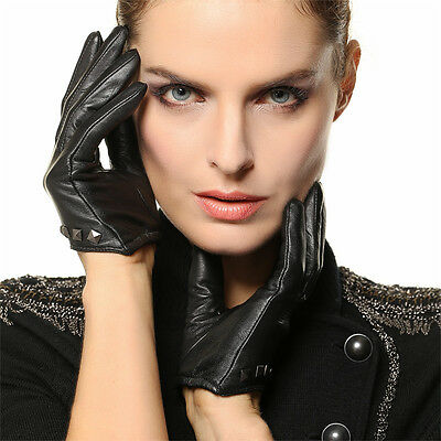 Women's PUNK ROCK GOTHIC GENUINE LEATHER stud gloves