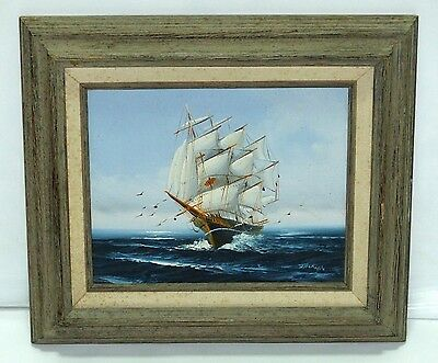 Antique Tall Nautical Sailing Ship at Sea Vintage Oil Painting signed Jackson