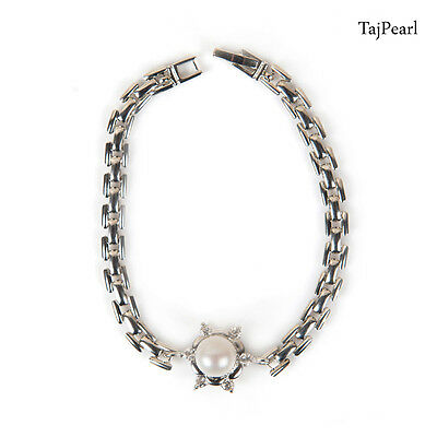 Ethnic Elegant Chain 8.5 inches Bracelets White Metal Button Freshwater pearls