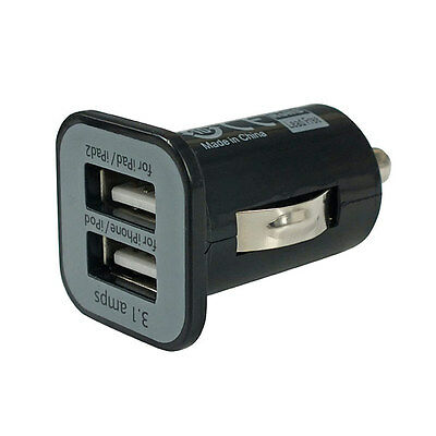 Mini Bullet Dual USB 2-Port Car Charger Adaptor for iPhone 4 4S 5 5S 5C 3G Black