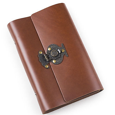 Ancicraft Refillable Leather Journal Planner with Flower Vase Lock A6 Blank Gift