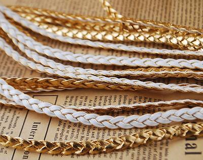 New White&Gold  Assorted Smooth PU Leather Cord Fit Jewelry DIY Pendant Crafts