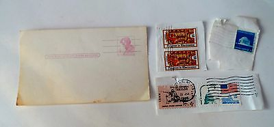 MISC. LOT of US  Postage Stamps + UNUSED 4 CENT POST CARD