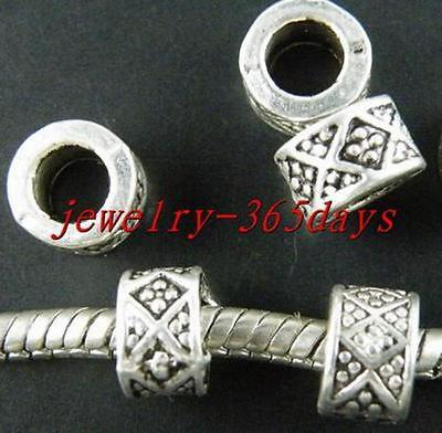 30pcs Tibetan Silver Tube Big Hole Spacers 7.5x5mm
