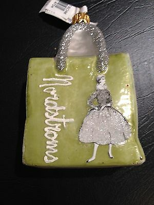 NWT Nordstrom Hand Blown Glass Green Ornament Heritage, Lim Ed