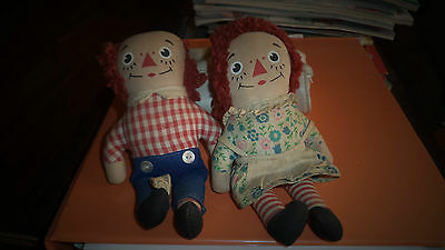 Vintage Raggedy Ann & Andy Pair 6 1/2'' T with Knickerbocker Tags Org CA: 1960