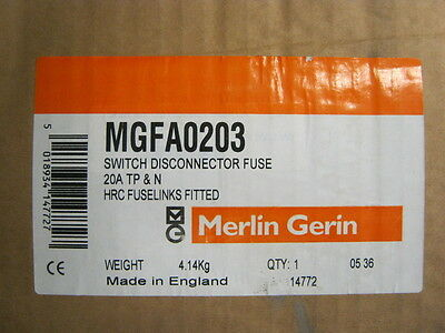 Merlin Gerin - MGFA0203 - 20amp TP & N Switch Disconnector HRC Fuselinks Fitted