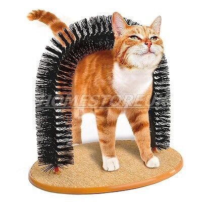 Cat Grooming Arch Bristles Scratching  Cat-Nip Toy Kittens Massager 30780 • EUR 9,82
