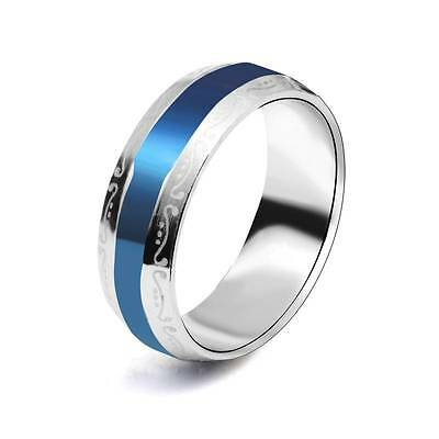 Hot Wholesale 5pcs Blue favorite Unisex Stainless Steel Ring,US Size 7-9