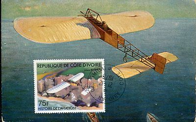 0443 cote ivoire,maxicard maximum 1979 airplane bleriot, vintage card