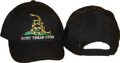 (new) Embroidered Gadsden Dont Tread on Me Tea Party Black Baseball Hat Cap