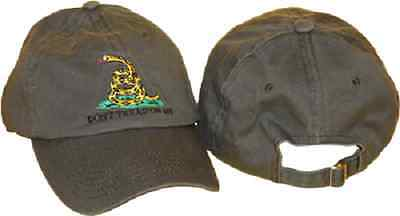 Embroidered washed style olive green Gadsden Tea Party dont tread on me Hat Cap
