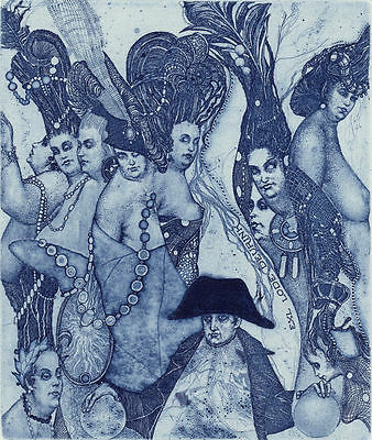 Ex libris NAPOLEON by K. Antioukhin. Erotic Signed Original etching Limited