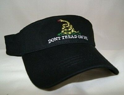 (new) Embroidered Gadsden Tea Party Anti Obama Dont Tread on me Black Visor hat