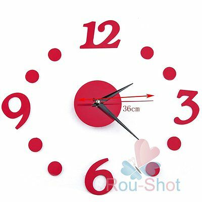 Creative DIY Red Number Digital + Dot Stick Wall Clock Interior Home Decal Decor