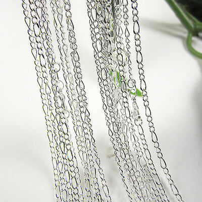 """Wholesale Lots 5Pcs 925 Sterling Silver 2mm Figaro Link Chain Necklace 26"""""""