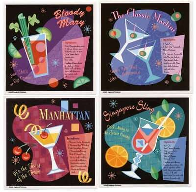 Cool RETRO Bartender COCKTAIL RECIPES SIXTIES Vinyl STICKER/DECAL SET of 4 60's