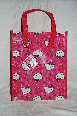 """HELLO KITTY By Sanrio REUSABLE PINK SHOPPING/LUNCH BAG Plastic Tote 10""""x 8""""x 3"""""""