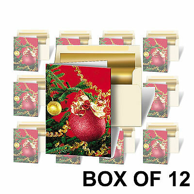 Holiday Christmas Red Ornament Greeting Card 3D Lenticular #GC-982-12#