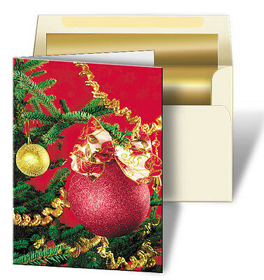 Holiday Christmas Red Ornament Greeting Card 3D Lenticular #GC-982#