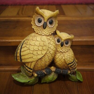 """Vintage 1976 Homco """"Mother Owl and Baby"""" Molded Plastic Wall Hanging Art USA"""