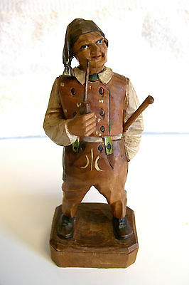 VTG. OLD MAN WITH CANE SMOKING PIPE WOOD CARVED  GERMAN FIGURINE FIGURE 1954