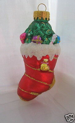Vintage Blown Glass Christmas Stocking with Tree Presents Ornament UT Glitter