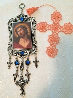 Framed Wall Hanging Tapestry Jesus Icon Crucifix Cross