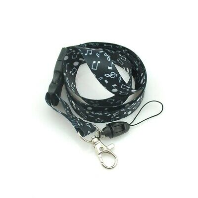 Black & White Musical Note Effect Lanyard Keychain Document Holder - Brand New