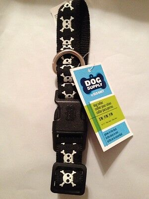 Old Navy Dog Collar Size Small/ Medium Black With Skull And Crossbones New