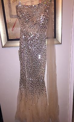 Jovani sheer nylon silver sequin and beaded one shoulder full length gown size 8
