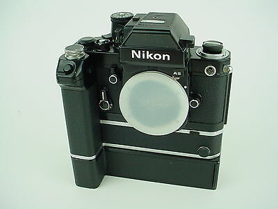 Nikon F2AS 35mm SLR Black Film Camera with MD-2 MB-1 Motordrive - NICE !