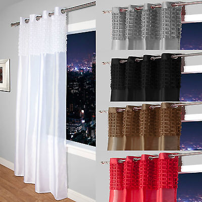 Elsa Faux Silk Eyelet Curtain Panel With Luxurious Fur Top- Net & Voile Curtains