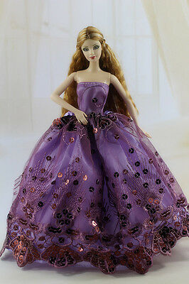 Fashion Royalty Purple Princess Party Dress Gown Ballgown For Barbie Doll a020!