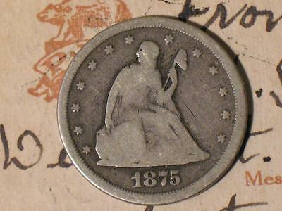1875-S UNITED STATES TWENTY CENT PIECE - OLD SILVER US COIN