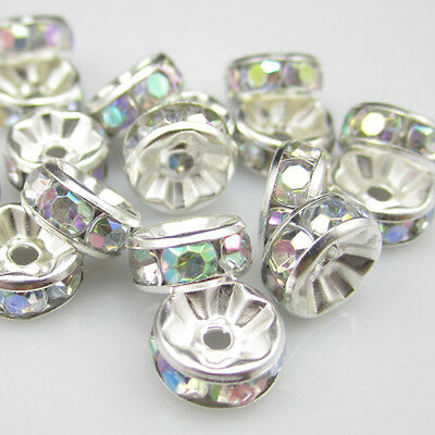 Free shipping NEW Fashion 20pcs 8MM Plated silver crystal spacer beads clear AB