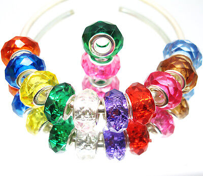 Lots 100PCS Mixed Color Crystal Resin Charm Beads Fit European Bracelets Z7