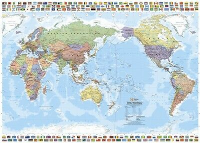 (LAMINATED) World MAP Pacific Centred With Flags POSTER (70x100cm) Australia