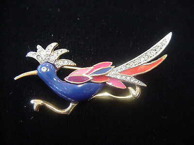GLAMOUR PHX VINTAGE LUCITE ENAMEL RHINESTONE ROAD RUNNER BIRD PIN NICE COLORS